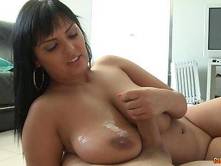 Mature brunette babe Jasmine Black gets a huge cumshot on her tits