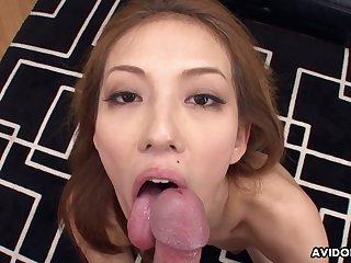 Great Asian blowjob by seductive Japanese chick Sally Yoshino
