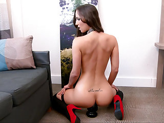Dark-haired babe in collar getting fucked hard