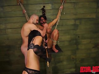 Rope bound submissive sucks big cock and gets fucked