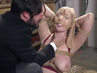 Gorgeous redhead Lauren Phillips force fed cock in extreme bondage