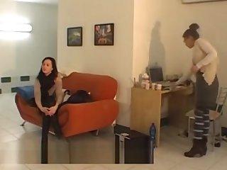 Czech lesbians doing striptease at the casting