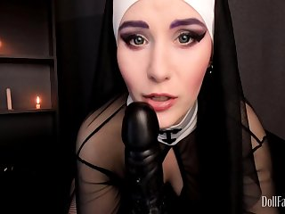 DollFaceMonica - Sinful nun dares to beg for Priest man milk