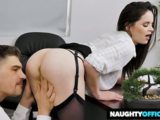 Horny secretary in black lingerie Jenna J Ross rides her boss on top