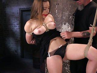 Hogtied submissive Dani Daniels deserves some really wild masturbation