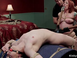 Two bitches endure whippings and bondage