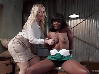 Simone Sonay wants to punish her ebony girl with a strapon on the couch