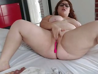 fat bbw rides dildos with lovense vibrator