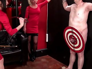 Strong and naked guy plays fun games with his friends and  Carmen Rivera