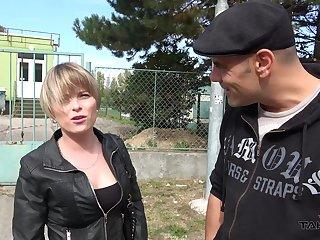 Stranded Kamila enjoys car fucking with strangers on hey way home
