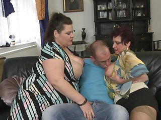 Busty mature BBW Alisah and her friends team up on one guy