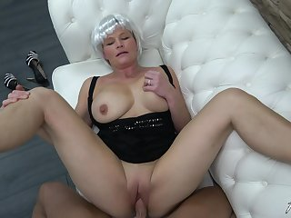 Mature amateur busty blonde granny Clarisa pounded hard doggy style