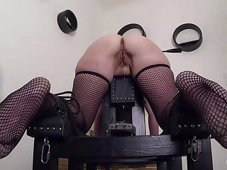 Blonde French slave Marina gets anal trained. First an butt plug, next a huge anal toy.