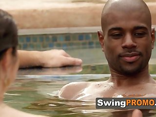 Swingers start with horny flirting in the jacuzzi