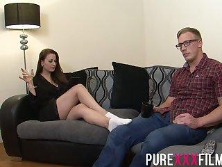 Naughty bootylicious milf Lara Jade Deene seduces boyfriend's nerd friend