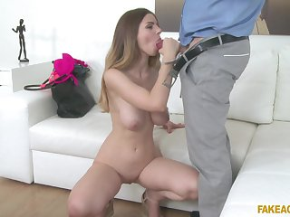 Stunning Stella Cox spreads her long legs for strong and long cock