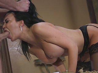 Amazing slutty bitch Jasmine Jae has to suck dick before brutal fuck