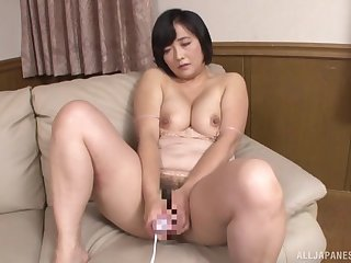 Chubby Japanese mature sucks dick and swallows