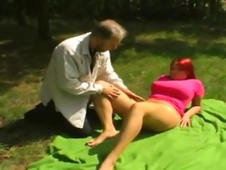 Old man fuck sexy redhead girlfriend outdoor