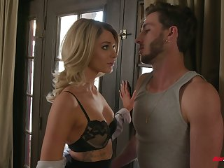 Sexy young housewife Emma Hix is making love with handsome plumber