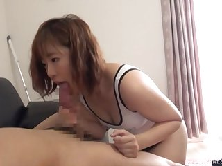 Sweet Japanese girlfriend with firm ass gives a sloppy blowjob