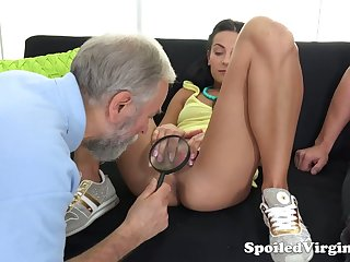 Old gynecologist is watching horny dude fucking 19 yo virgin girlfriend Kelli Lox