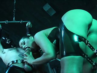 Horny guy bangs torrid bitch in latex outfit Cathy Heaven and cums in her mouth