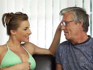 Fit busty babe fucks her boyfriend's stepdad without feeling any guilt