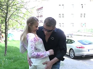 Dude fucks mouth, pussy and anus of pretty Russian teen on the first date