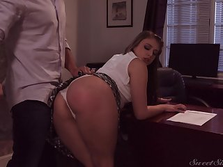 Bad girl Gia Derza seduces teacher and gets her muff nailed on the table