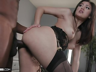 Beautiful Asian chick in black tights Kendra Spade works on fat big black cock