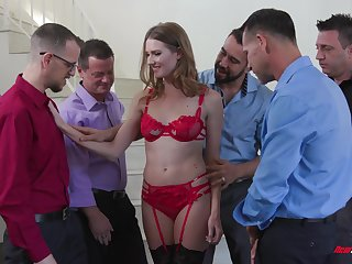 Slender bitch in red lingerie Ashley Lane serves a group of horny guys