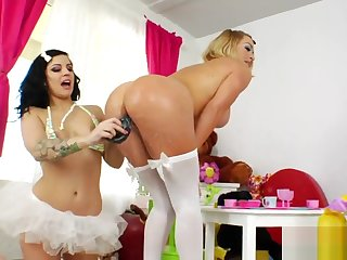 Naughty lesbians fill up their huge butts with cream and ejaculate it out