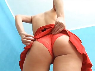 Blonde in red blouse engages in hot fuck session with her BF
