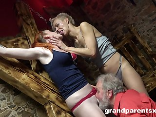 Hot women share pussy and cock in crazy senior threesome