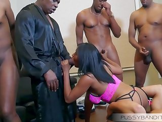 wild gangbang group sex orgy with busty ebony slut - big black cocks