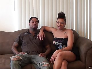 Busty ebony girlfriend and her black boyfriend love to have people watch them fuck!