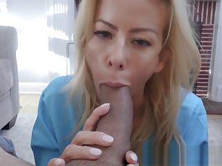 Hot busty stepmom blows massive dick