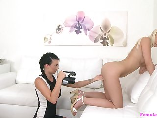 Nice ass blonde pleasured with a sex toy by a female agent