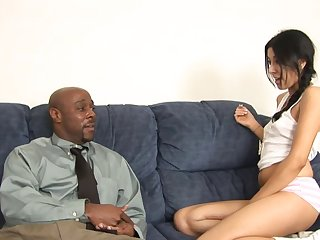 Interracial fucking between a hairy Latina and a black stud