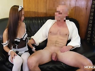 Asian housewife in sexy uniform Karen gives her head and gets fucked