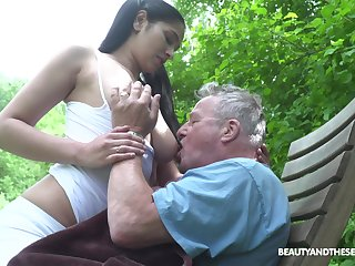 Busty sitter Ava Black bangs old man and takes cumshots on her massive boobs