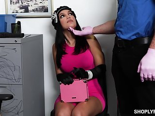 Guilty tanned brunette with big boobies Alina Belle rides strong cock