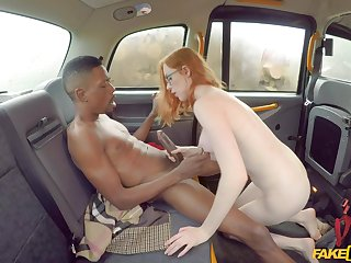 Back seat oral romance for a ginger addicted to black dicks