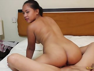 Bubbly exotic harlot with a nice plump ass riding her lover's prick on camera