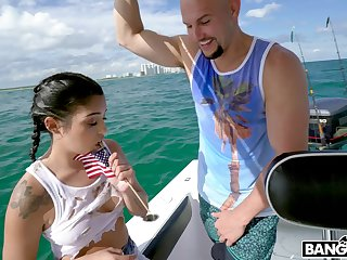 Wild fucking on the boat with stunning Latina GF Vanessa Sky