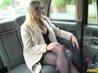 Hardcore fucking in the back of the fake taxi with a busty blondie