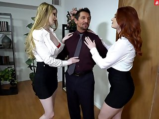 Older man roughly fucks these chicks from the office