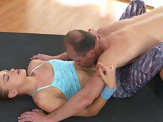 Older guy wets his wick inside of flexible yoga enthusiast Ivana Sugar