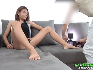 Tiny Teen Thai Asian Chick picked up by Douche